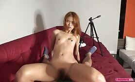 Traveling monstrous dong inside small chinese chick