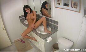 Asa Akira masturbates in the bathroom