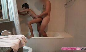 asian skank licks Japan Dude's cock In Shower