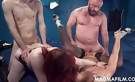 Chesty sluts getting plowed by two dudes