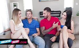 Two Hot young hoes Decide To Earn Some Money By Swapping Their Stepdads And Make kinky Videos