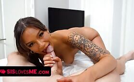Tanned sweety April Olsen Lets Stepbrother Smash Her Juicy twat